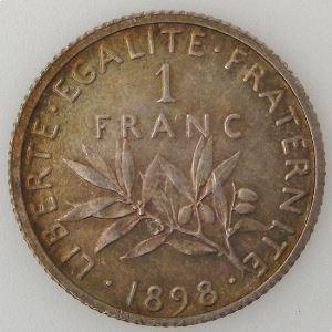 France, 1 Franc 1898, SUP/SPL, KM# 844.1