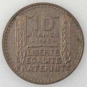 France, 10 Francs 1945 Rameaux courts, TTB+, KM#908.1