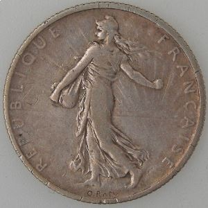 France, 2 Francs 1900, TB+, KM# 845.1