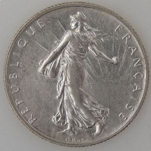 France, 2 Francs 1910, TTB+, KM# 845.1