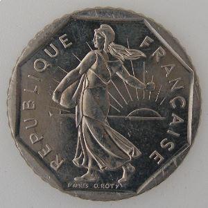France, 2 Francs 1990, SUP+/SPL, KM#542.1