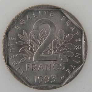 France, 2 Francs 1993, SPL, KM#542.1
