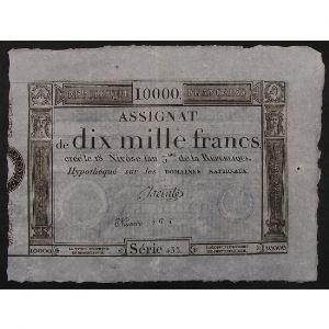 France, Assignat de 10000 Francs, Série: 433, TTB+