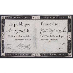 France, Assignat de 125 Livres , Série: 2032, TB