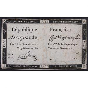 France, Assignat de 125 Livres , Série: 2616, TB+