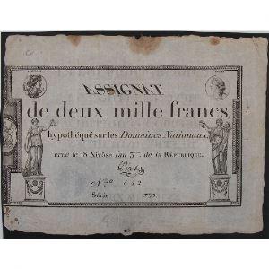 France, Assignat de 2000 Francs, Série: 730, TB+