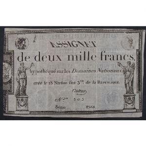 France, Assignat de 2000 Francs, Série: 8968, TTB