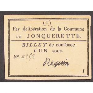 France, Billet de confiance d'un sous, commune de Jonquerette, TTB+