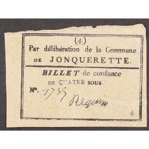 France, Billet de confiance de Quatre sous, commune de Jonquerette, TTB+