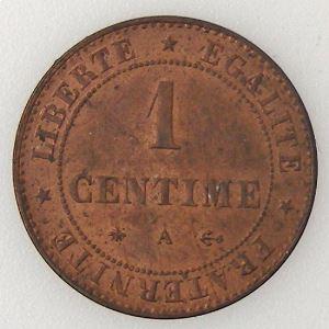 France, Cérès, 1 Centime 1875 A, TTB, KM# 826.1 .