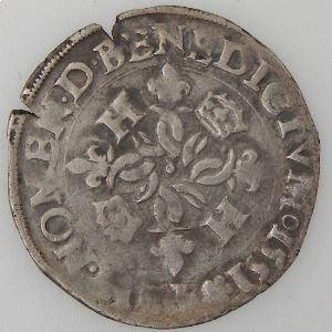 France, Henri II, Douzain aux croissants 1551 Y , TB+, Dup:997