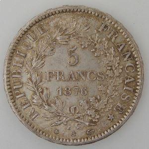 France, Hercule, 5 Francs 1876 A, SUP, KM# 820.1