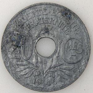 France, Lindauer, 20 Centimes 1946 B, TTB légère oxydation, KM# 907.2