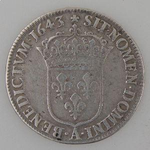France, Louis XIII, 1/4 Ecu 1643 A rose, Gad: 48, TB