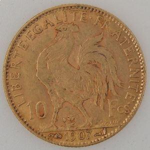France, Marianne, 10 Francs 1907, TTB, KM#846