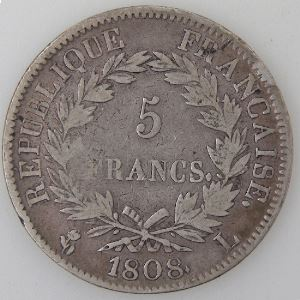 France, Napoléon 1er, 5 Francs 1808 L, TB/TB+, KM# 686.8