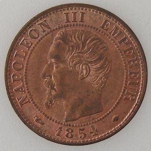 France, Napoléon III, 1 Centime 1854 MA, SUP/FDC , KM# 775.6.