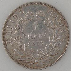 France, Napoléon III, 1 Franc 1856 BB, TTB, KM# 779.2