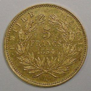 France, Napoléon III, 5 Francs 1854 A, TTB+/SUP, KM# 783