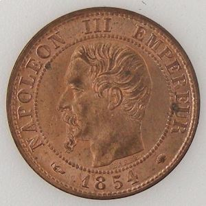 France, Napoléon III , 1 Centime 1854 MA, SUP/FDC, KM# 775.6.