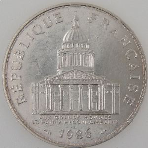 France, Panthéon, 100 Francs 1986, SUP, KM#951.1