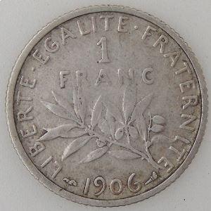 France, Semeuse, 1 Franc 1906, TB/TB+, KM# 844.1