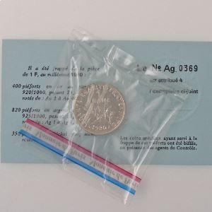 France, 1 Franc 1980 Piéfort Argent, FDC, KM# P669