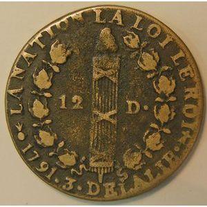 France, 12 Deniers 1791 AA Metz, TB+, Gad:15