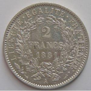 France, Cérès, 2 francs 1881 A, SUP, KM # 817.1