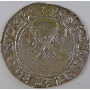 France, Charles VI, Blanc Guénar, TB+, Duplessy: 377