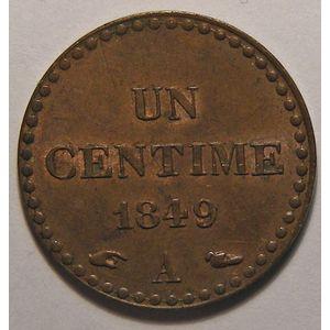 France, Dupré, 1 Centime 1849 A TTB/SUP, Gad: 84