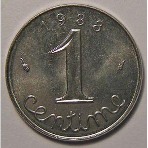 France, Epi, 1 Centime 1988 SUP+, KM# 928