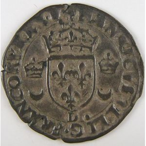 France, Henri II, Douzain aux croissants 1550 D, TB+, Duplessy: 997