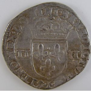 France, Henri IV, 1/4 Ecu 1597 L, TB+/TTB, Duplessy: 1224