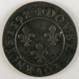 France, Henri IV, Double Tournois 1592 , Dup: 1273, TTB+