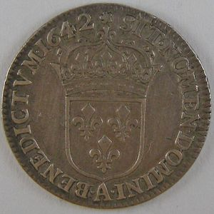 France, Louis XIII, 1/12 Ecu 1642 A rose , KM# 132.1, TTB