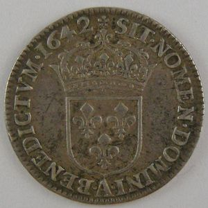 France, Louis XIII, 1/12ème Ecu 1642 A Rose, TTB, KM# 132.1