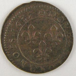 France, Louis XIII, Double Tournois 1637 , Gad: 11, TB