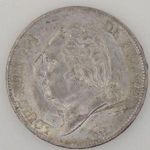 France, Louis XVIII, 5 Francs 1817 L, TTB+, KM# 711.8