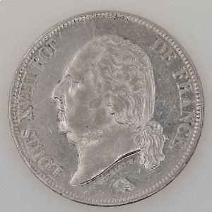 France, Louis XVIII, 5 Francs 1822 W, TTB+/SUP, KM# 711.13