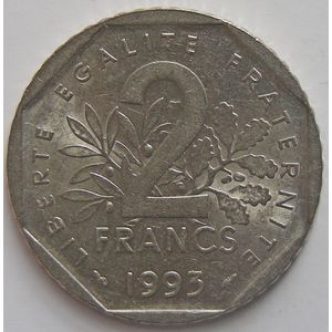 France, Semeuse, 2 Francs 1993 SUP+/SPL, KM# 942.1