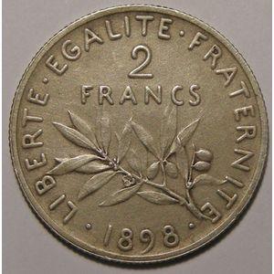 France, Semeuse Flan Mat, 2 Francs 1898 SUP Gad: 532