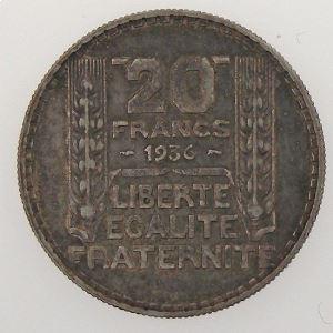 France, Turin, 20 Francs 1936, TTB/TTB+, KM# 879