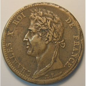 French Colonies, Charles X, 10 Cent 1828 A, KM# 11.1, TB+