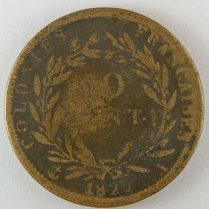 French Colonies, Charles X, 10 Cent 1829 A, KM# 11.1, B+