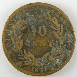 French Colonies, Charles X, 10 Cent 1829 A, KM# 11.1, TB/TB+