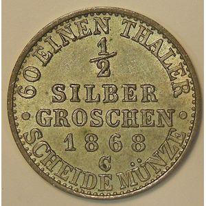 Germany, Preussen, 1/2 Silbergroschen 1868 C, TTB+/SUP, KM# 484