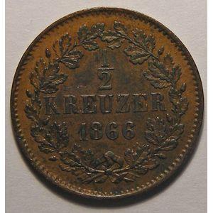 Germany, 1/2 Kreutzer 1866, TTB+, AKS: 134