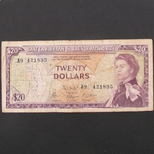 Iles Caraibes, 20 Dollars ND 1965, VF