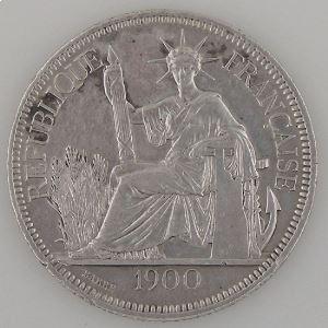 Indochine, 1 Piastre 1900, TB+/TTB, KM#5a.1